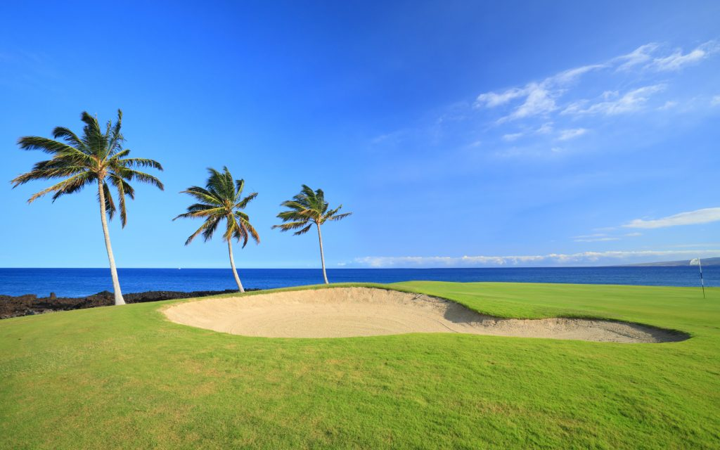Green Hawaiian Golf Course on Lava Ocean Shore of Kona Island