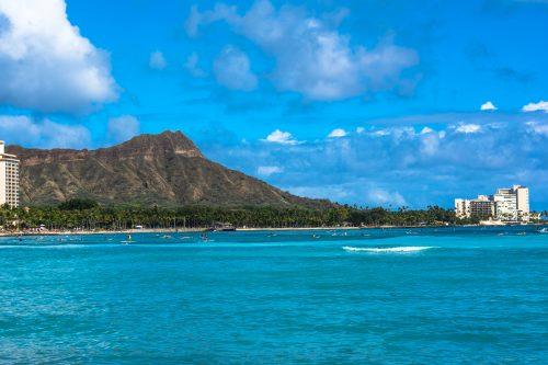 Diamond Head seen from Waikiki coast, Oahu, Hawaii