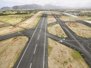 Aerial view of Hilo International Airport Runway, Hawaii, USA