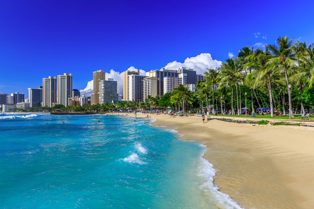 Honolulu Hawaii. Waikiki beach and Honolulu's skyline.